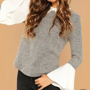 Top with flared sleeves